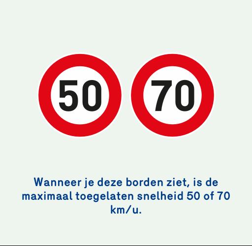 Foto van 2 verkeersborden die de maximale snelheid van 50 of 70 km per uur aangeven.